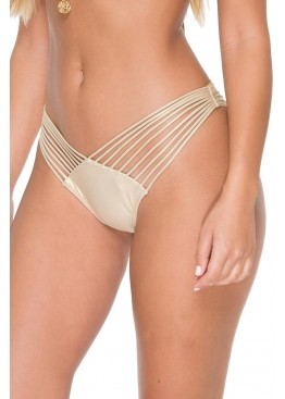 Плавки Luli Fama Cosita Buena Strappy Brazilian Ruched Back Bottom Gold