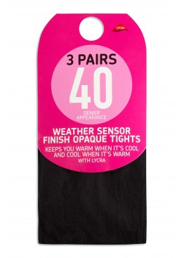 Женские колготки New 3 Pairs Black 40 Denier Appearance Weather Sensor Finish Opaque Tights